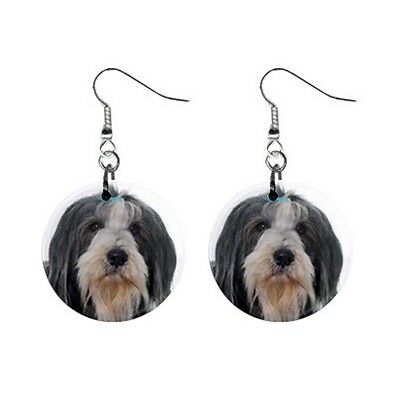 New Cute Funny BEARDED COLLIE Face Dog Puppy Lovers Gift Dangle Metal EARRINGS