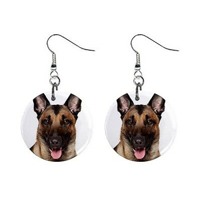 New Cute Funny BELGIAN MALINOIS Face Dog Puppy Lovers Gift Dangle Metal EARRINGS