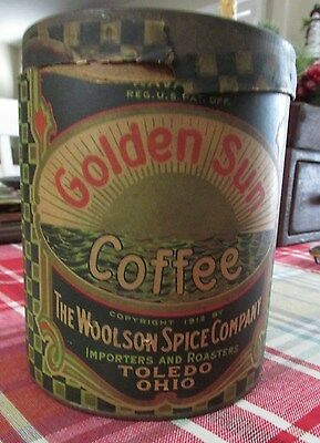Vintage Navarre Golden Sun Coffee Tin Paper Label Woolson Spice Company Toledo