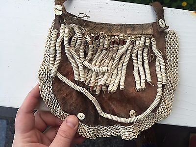 ANTIQUE 1860-1920s AFRICAN BEADED LEATHER NECKLACE HAND CARVED