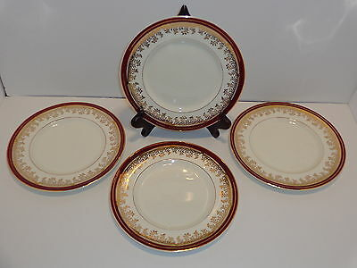 "Myott Son & Co. 1559 ROYALTY 8"" SALAD PLATES Lot x 4 Maroon Red W/ Gold Trim"