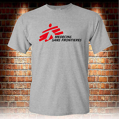 MSF Medecins Sans Frontieres Custom Grey T-Shirt Men's Tshirt S to 3XL