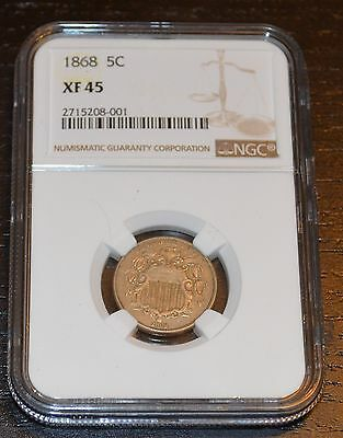 1868 5C  Shield Nickel Graded by NGC as XF 45