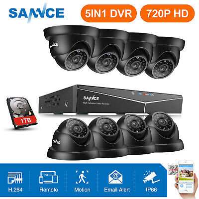 SANNCE 5in1 HD 1080P HDMI 8CH /4CH DVR Security Camera System 720P Home IR CUT