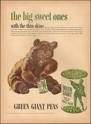1953 Vintage ad for Green Giant Peas`Art`Brown Bear (051814)
