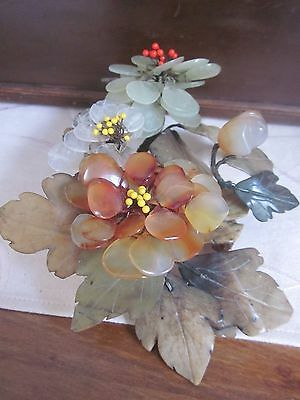 vintage Oriental Asian JADE & AGATE Flowering Tree Branch ORNAMENT