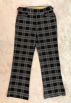 Vintage Plaid Pants Black White Window Pane Stretch Flare Trouser S/M VTG 60s 70