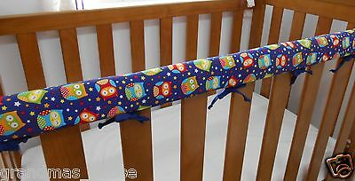 SET OF TWO Baby Cot Crib Rail Cover Teething Pad Blue Owls 100% Cotton