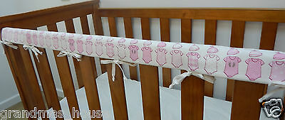 2 x Baby Cot Crib  Rail Cover Teething Pad Pink Onesees On White   SET OF TWO!!
