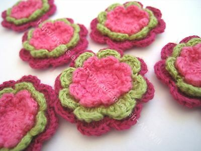 6 x Mini 3 Layer Hand Crochet Flowers  - Pink and Green