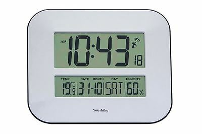 Jumbo LCD Radio Controlled Digital Wall Clock w/ Temperature & Humidity Display