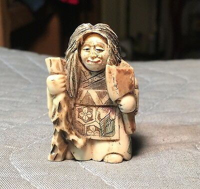"""Antique And Or Vintage 2"""" Tall Japanese Or Asian Signed Carved Netsuke Carving"""