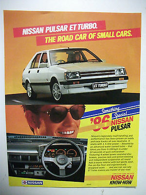 1986 Nissan Pulsar Et Turbo Fullpage Colour Magazine Advertisement