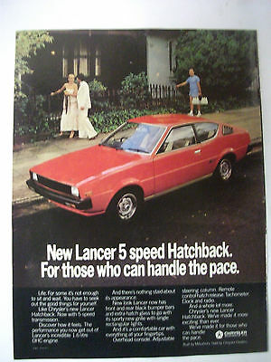 1979 Mitsubishi Lancer Hatchback Fullpage Colour Magazine Advertisement