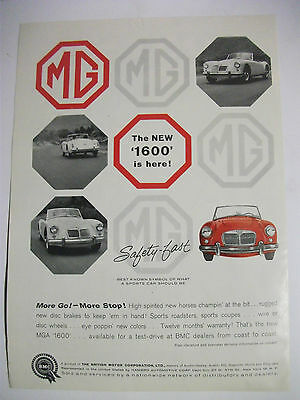 1959 The New Mga '1600' Is Here! Usa Magazine Fullpage Advertisement