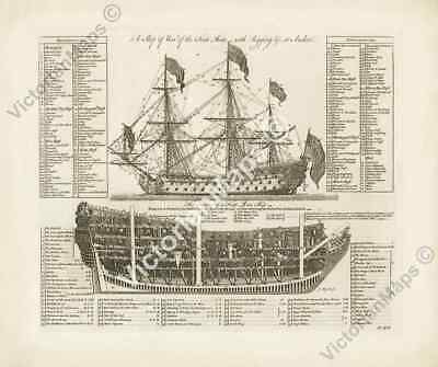 First Rate Ship of War rigging at anchor & section antique print 1728 art poster