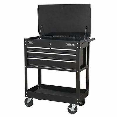 Sealey Heavy-Duty Mobile Tool & Parts Trolley 4 Drawers & Lockable Top Black