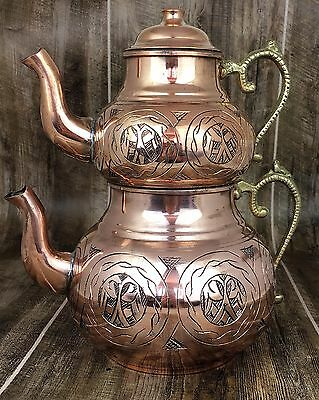 Turkish Teapot Set, Handmade Copper Tea Pot Set, Free Shipping, Thick Copper
