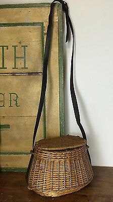 Antique Fishing Creel Wicker With leather Strap and Shaped Back