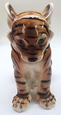 Porcelain Knight Ceramics Austria Tiger Figurine Large Vintage Estate Find