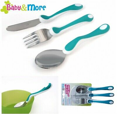 Feed&Flourish Toddler 3 pc Cutlery Set, Stainless Steel, Clever Grip