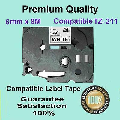 5x Laminated Label Tape for Brother TZ-211 TZe-211 Black on White 6mm x 8m