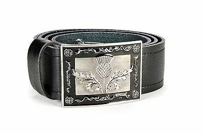 Heraldic Thistle Leather Kilt Belt and Buckle MG5 Antique + Black