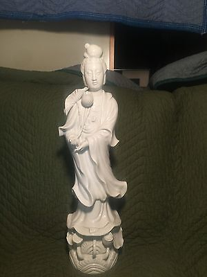 """Antique 20"""" Tall White Chinese Porcelain Pottery Ceramic Figure Statue Buddha"""