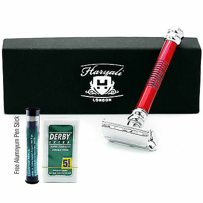 Long Handle Butterfly Double Edge Safety Razor & 5 blades Alum stick