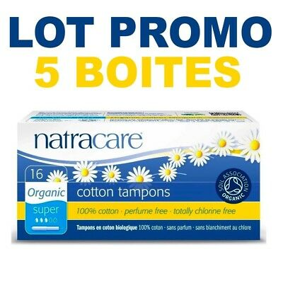 Natracare® Super 16 Tampons Applicateur 100% Coton Bio 0% Chlore Lot De 5 Boites