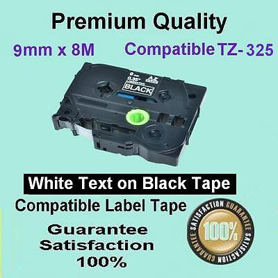3x TZ325 P-touch Labelling Tape 9mm for Brother PT-1880 PT-1400 White-ON-Black