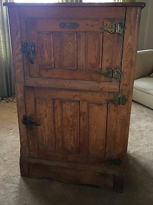 "ANTIQUE OAK ICE BOX ""The Baldwin"" Burlington, VT ALL ORIGINAL WITH ZINC LINING"