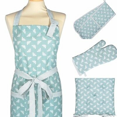 Duck Egg Blue Bee - Double Oven Gloves / Cotton Apron / Gauntlet or Seat Pads