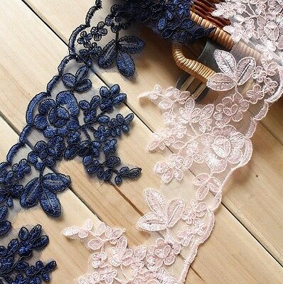 Multi Bridal Lace Trimmings Embroidered Trim Ribbon Wedding Floral Edging 5.1''