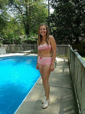 "Vintage 1960s Jantzen Two-Piece Swimsuit Bikini Red White Checked ""MaryAnn"" CUTE"