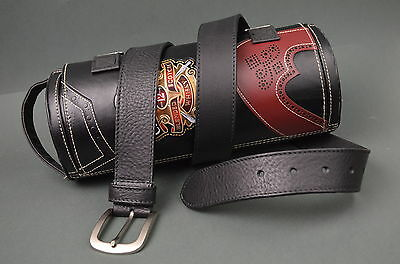 Cinturon Hombre Cuero Genuino 35 Mm Vacuno Negro Ma Leather Belt Classic - Black