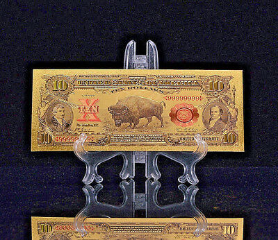 "<MINT GEM CONDITION>1899 ""GOLD"" BISON Banknote W/ COA~ U.S SELLER~FAST SHIPPINGg"