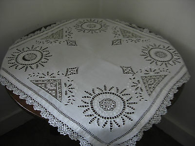 Vintage Hand Made Lace Cutwork Tablecloth