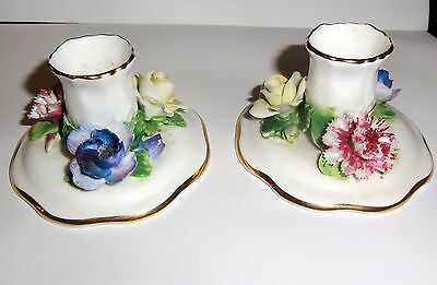 Pair of Crown Staffordshire China Flower Decorated Candlesticks