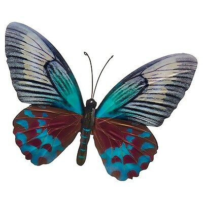 Metal Wall Art Decor Garden or Home  Teal Blue Colourful Butterfly 31 x 35cm