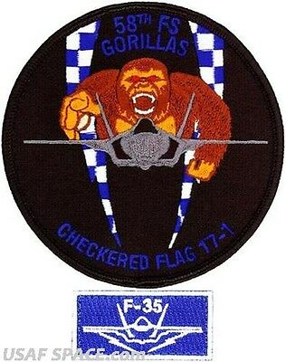 USAF 58th FIGHTER SQUADRON -CHECKERED FLAG 2017-1- ORIGINAL AIR FORCE PATCH SET