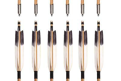 6X Japan Handmade TRADITIONAL 6 INCH FEATHERS SELF NOCK BAMBOO ARROWS FOR YUMI