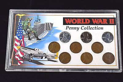 COMPLETE 9-Coin 1943-45 PDS Steel and Shell Casing Penny Cent WWII Collection