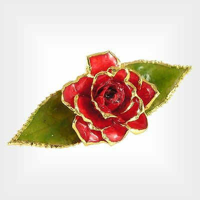 24k Gold Victorian Red Rose Brooch (Free Anniversary Gift Box)