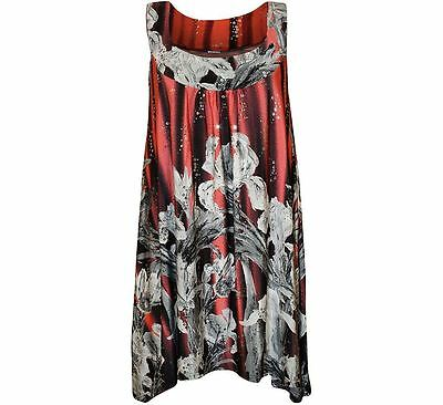Ladies Sequin Floral Print Womens Sleeveless Long Swing Vest Top Fancy Dress