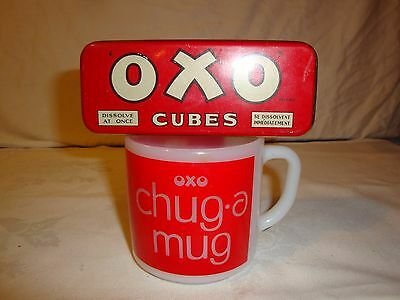 Oxo Tin And Coffee  Mug Cup Federal Glass Chug A Mug Milk Glass Vintage 1960's