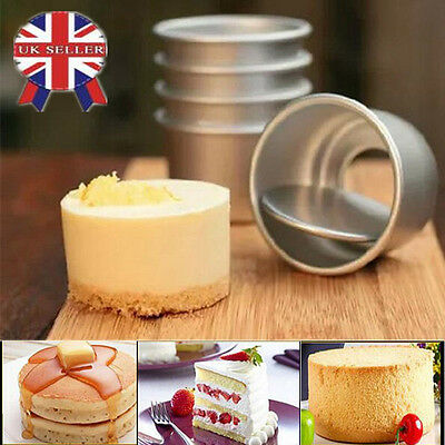"5pcs 2"" Aluminum Alloy Round Mini Cake Pan Removable Mold DIY Baking Tools"