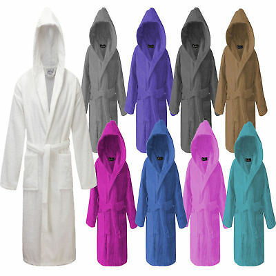 Hooded 100% Egyptian Cotton Toweling Bath Robe Dressing Gown Terry Towel