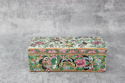 Antique Chinese Brush Box Porcelain Flowers, Butterflies, Roses Hand-Painted