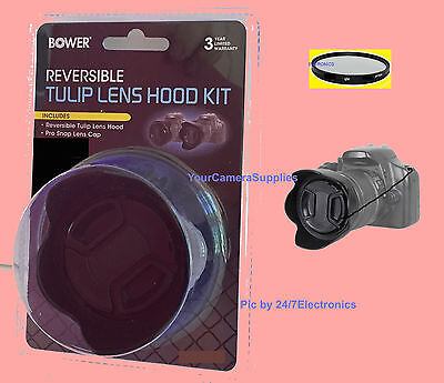 REVERSIBLE FLOWER HOOD+UV+LENS CAP+HOLDER to CAMERA PANASONIC DMC-FZ50 FZ70